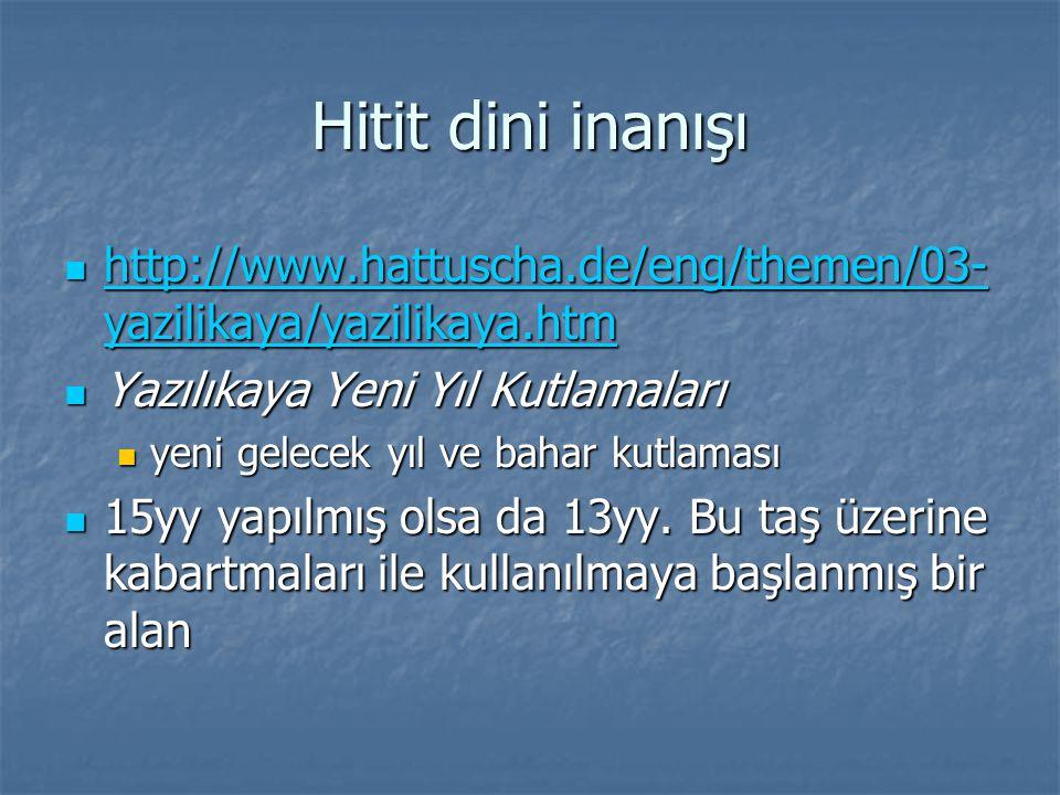 Hitit dini inanışı http://www.hattuscha.de/eng/themen/03-yazilikaya/yazilikaya.htm. Yazılıkaya Yeni Yıl Kutlamaları.
