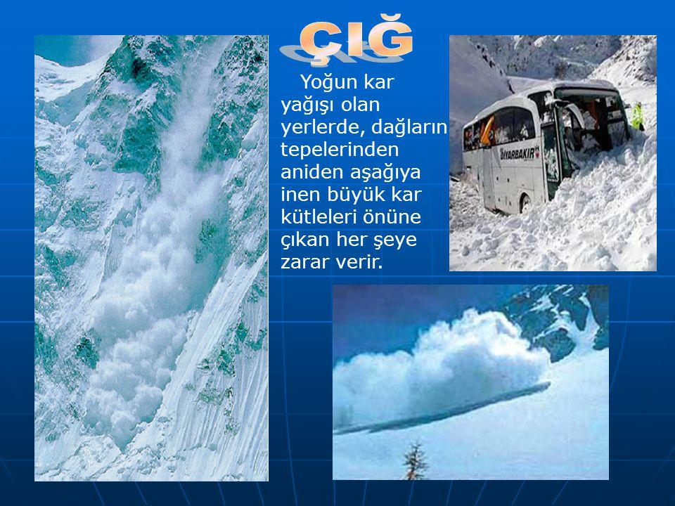 ÇIĞ Yoğun kar yağışı olan yerlerde, dağların tepelerinden aniden aşağıya inen büyük kar kütleleri önüne çıkan her şeye zarar verir.