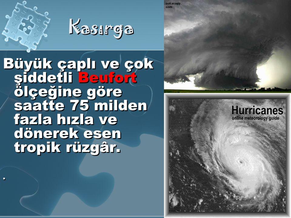 Kasırga Büyük çaplı ve çok şiddetli Beufort ölçeğine göre saatte 75 milden fazla hızla ve dönerek esen tropik rüzgâr.
