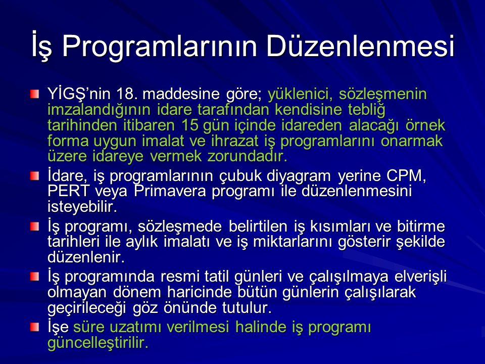 İş Programlarının Düzenlenmesi