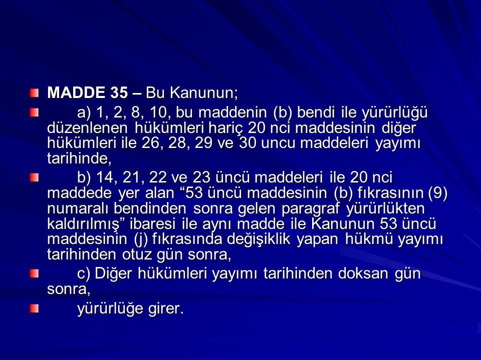 MADDE 35 – Bu Kanunun;