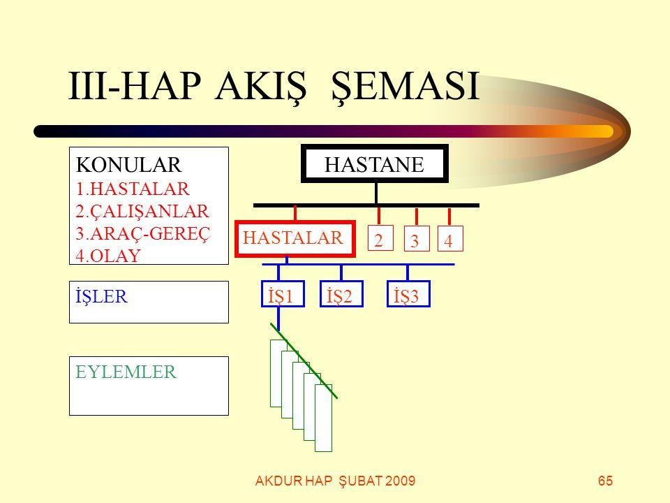 III-HAP AKIŞ ŞEMASI KONULAR HASTANE 1.HASTALAR 2.ÇALIŞANLAR