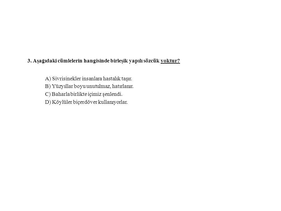 3. Aşağıdaki cümlelerin hangisinde birleşik yapılı sözcük yoktur