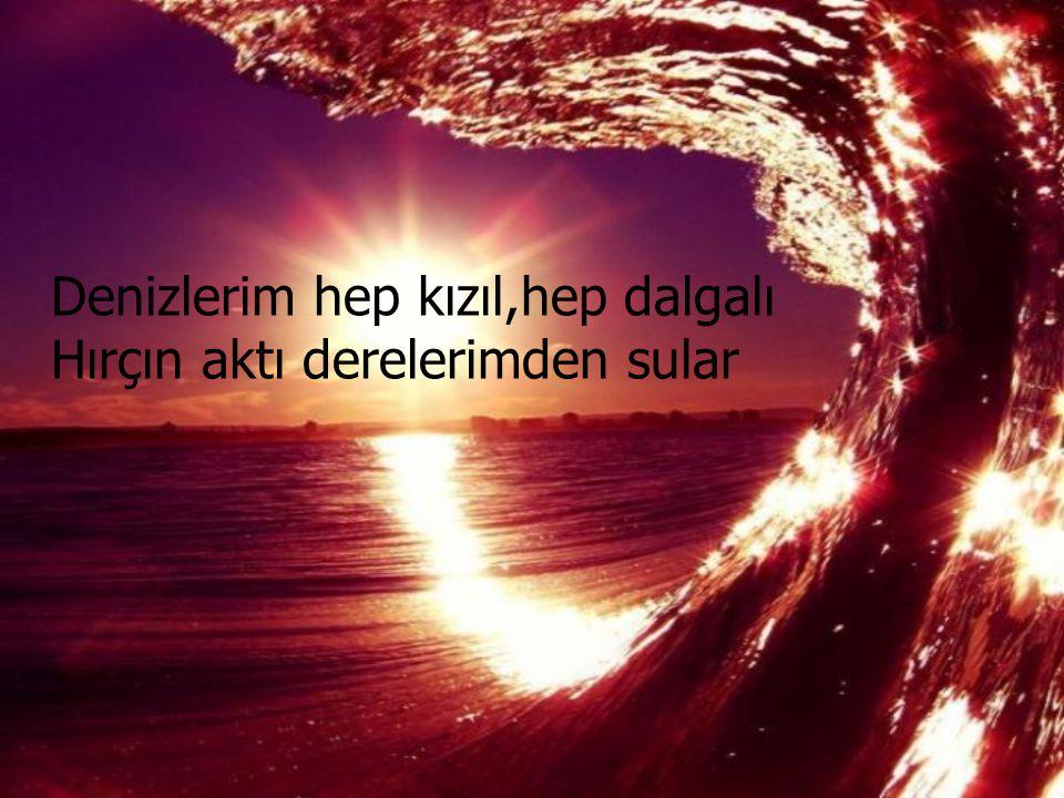 Denizlerim hep kızıl,hep dalgalı Hırçın aktı derelerimden sular