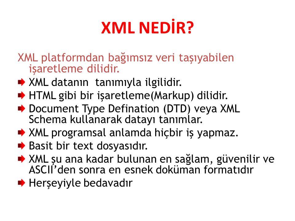 XML NEDİR XML platformdan bağımsız veri taşıyabilen işaretleme dilidir. XML datanın tanımıyla ilgilidir.