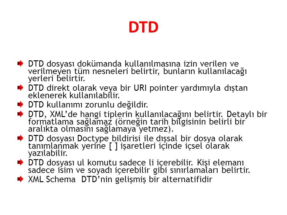 DTD DTD dosyası dokümanda kullanılmasına izin verilen ve verilmeyen tüm nesneleri belirtir, bunların kullanılacağı yerleri belirtir.