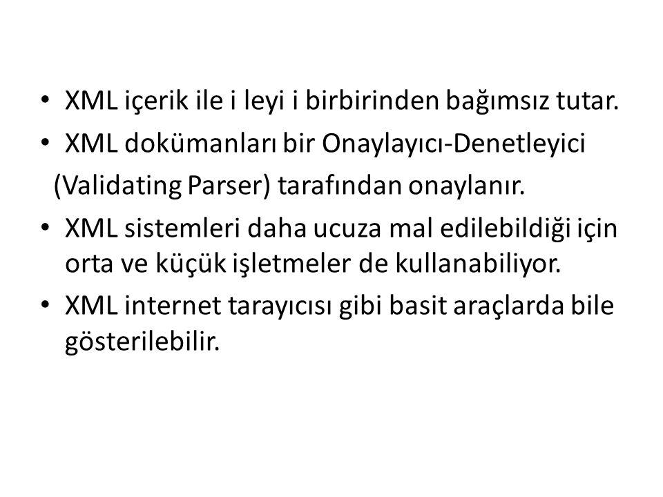 XML içerik ile i leyi i birbirinden bağımsız tutar.