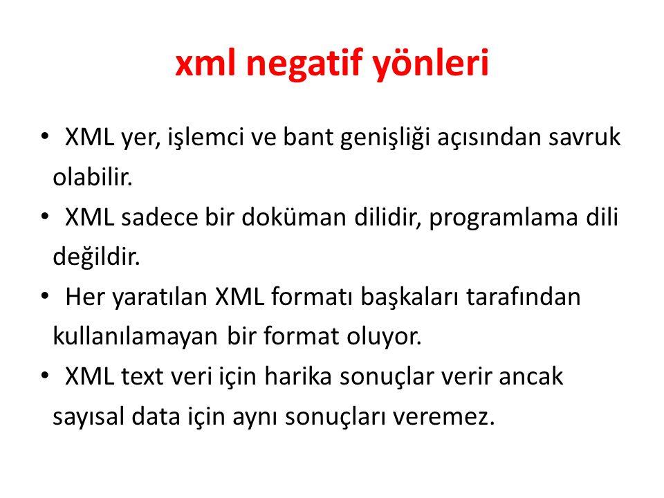 xml negatif yönleri XML yer, işlemci ve bant genişliği açısından savruk. olabilir. XML sadece bir doküman dilidir, programlama dili.