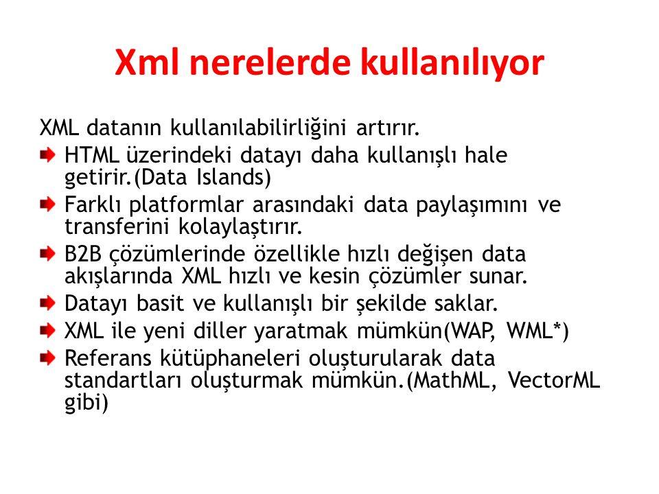 Xml nerelerde kullanılıyor
