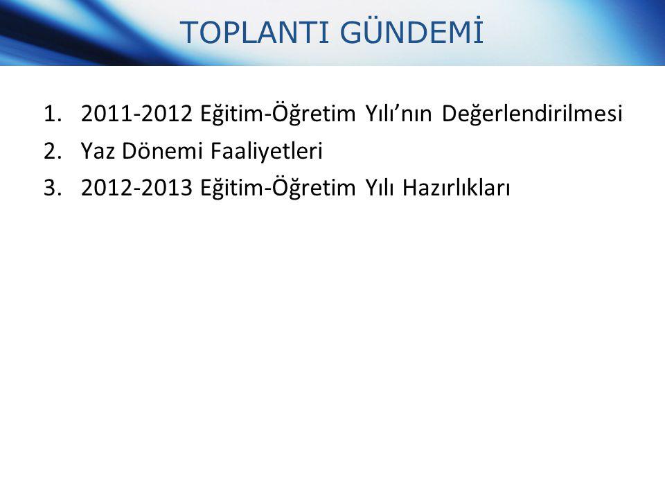 TOPLANTI GÜNDEMİ 2011-2012 Eğitim-Öğretim Yılı'nın Değerlendirilmesi