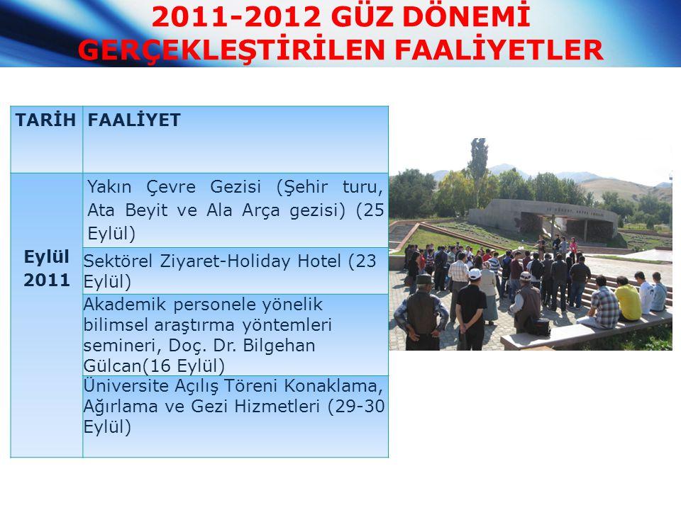 2011-2012 GÜZ DÖNEMİ GERÇEKLEŞTİRİLEN FAALİYETLER