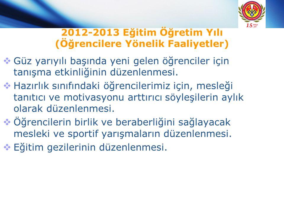 2012-2013 Eğitim Öğretim Yılı (Öğrencilere Yönelik Faaliyetler)