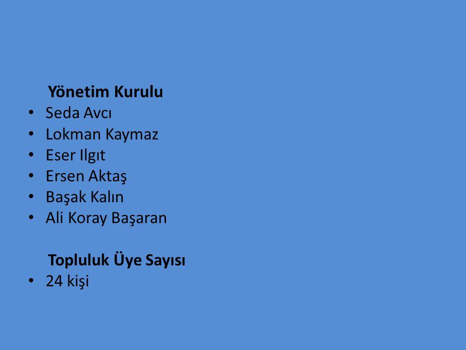 Yönetim Kurulu Seda Avcı. Lokman Kaymaz. Eser Ilgıt. Ersen Aktaş. Başak Kalın. Ali Koray Başaran.