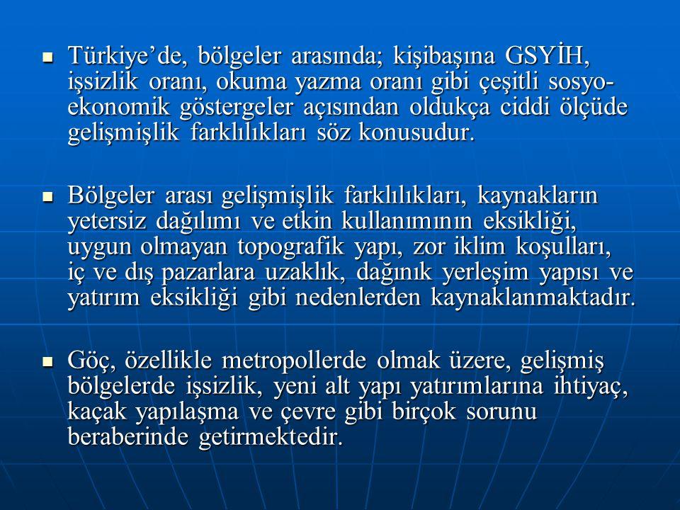 Türkiye'de, bölgeler arasında; kişibaşına GSYİH, işsizlik oranı, okuma yazma oranı gibi çeşitli sosyo-ekonomik göstergeler açısından oldukça ciddi ölçüde gelişmişlik farklılıkları söz konusudur.
