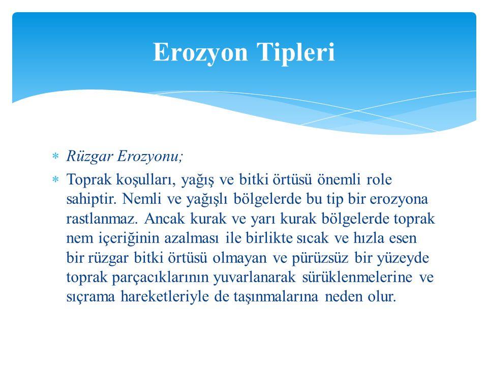 Erozyon Tipleri Rüzgar Erozyonu;