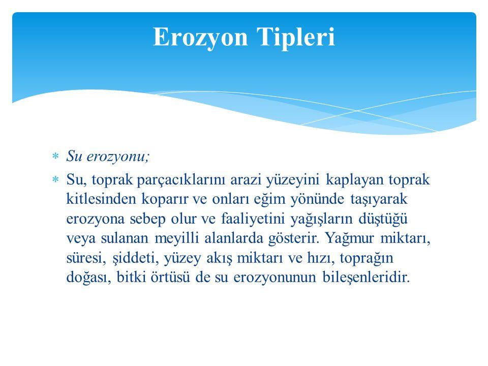 Erozyon Tipleri Su erozyonu;