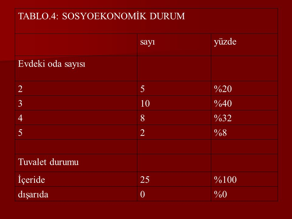 TABLO.4: SOSYOEKONOMİK DURUM