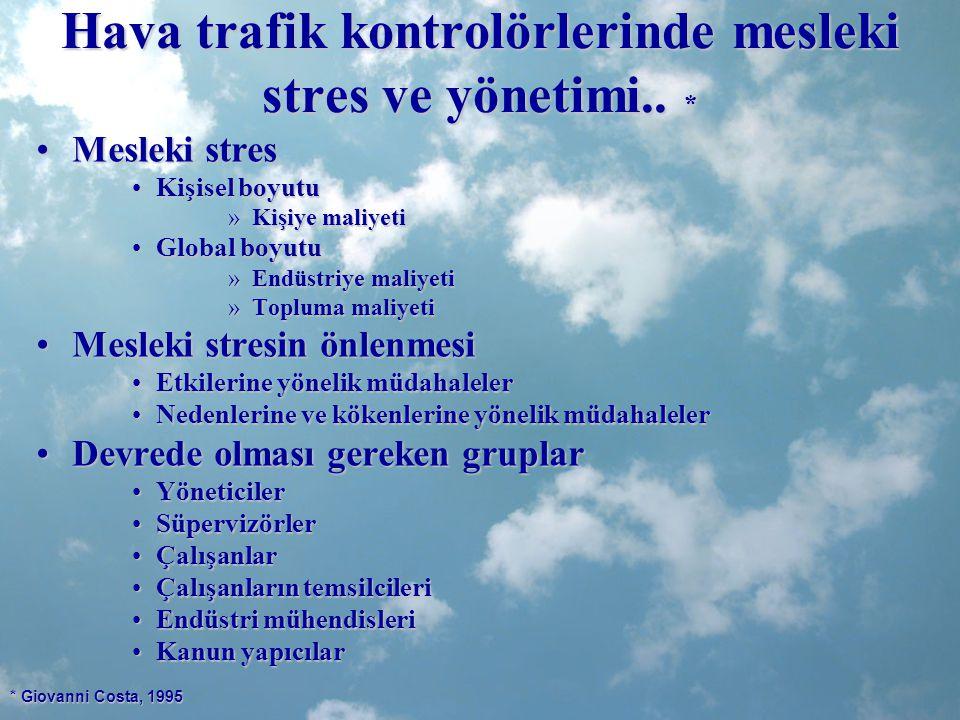 Hava trafik kontrolörlerinde mesleki stres ve yönetimi.. *