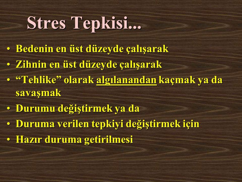 Stres Tepkisi... Bedenin en üst düzeyde çalışarak