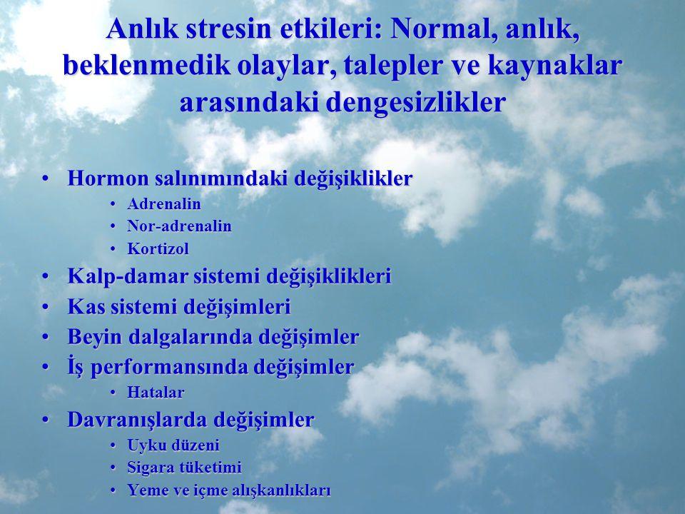 Anlık stresin etkileri: Normal, anlık, beklenmedik olaylar, talepler ve kaynaklar arasındaki dengesizlikler