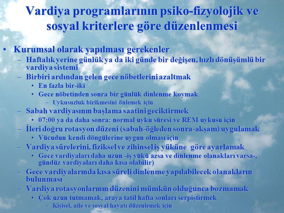 Vardiya programlarının psiko-fizyolojik ve sosyal kriterlere göre düzenlenmesi