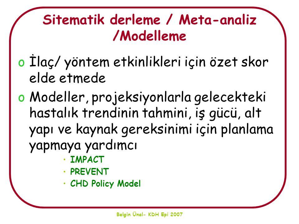 Sitematik derleme / Meta-analiz /Modelleme