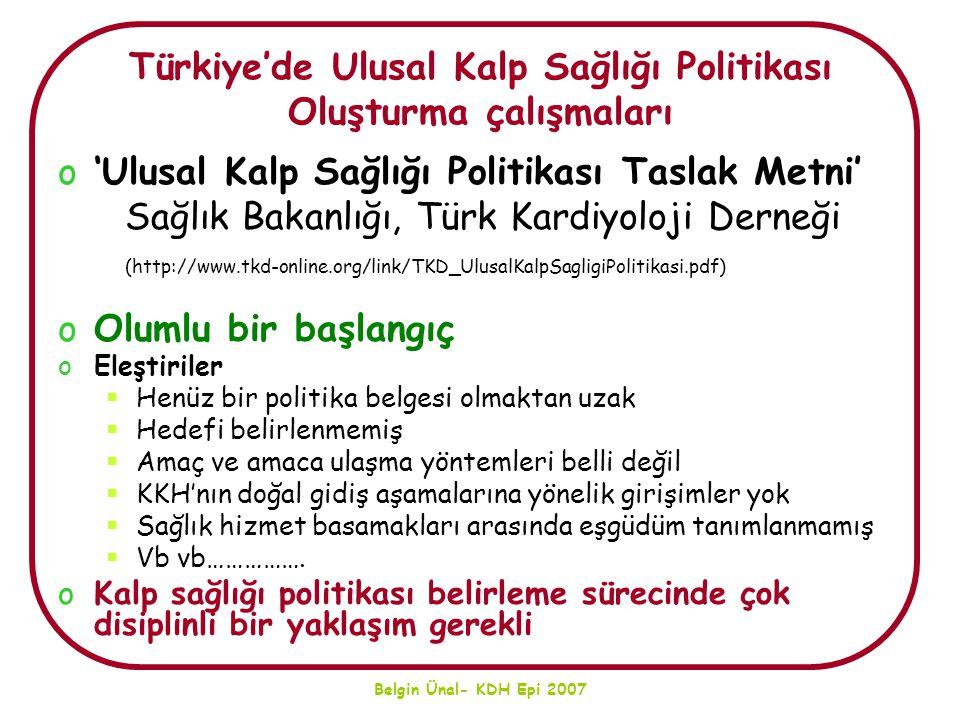 Türkiye'de Ulusal Kalp Sağlığı Politikası Oluşturma çalışmaları