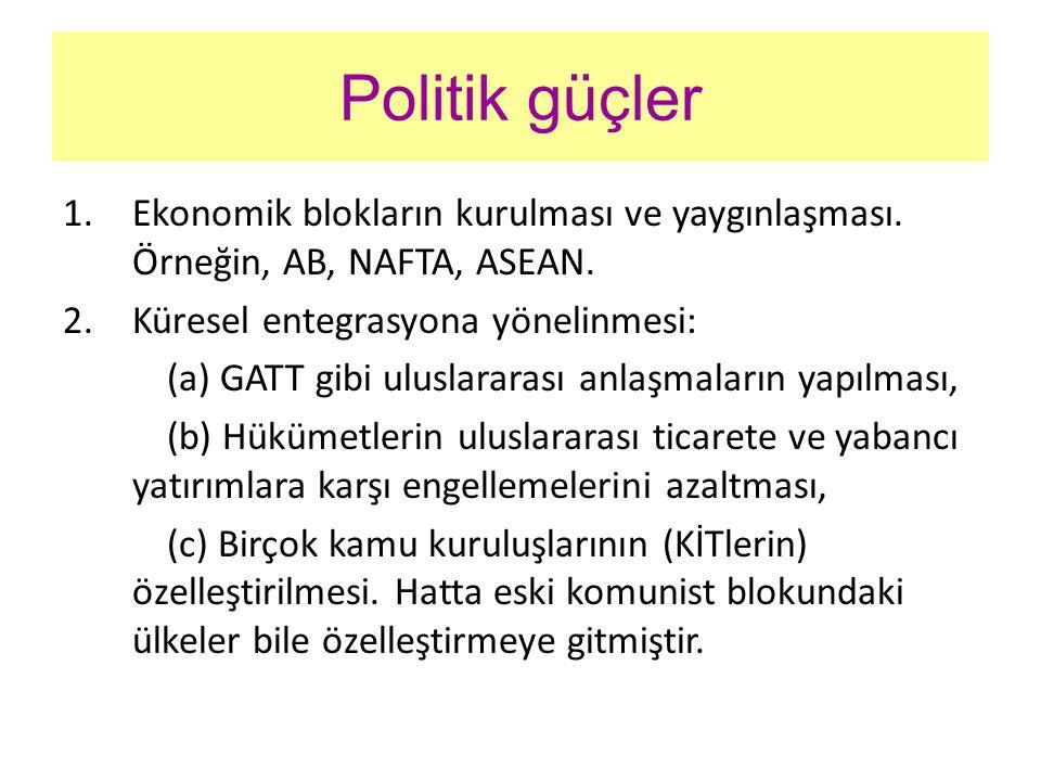 Politik güçler Ekonomik blokların kurulması ve yaygınlaşması. Örneğin, AB, NAFTA, ASEAN. Küresel entegrasyona yönelinmesi: