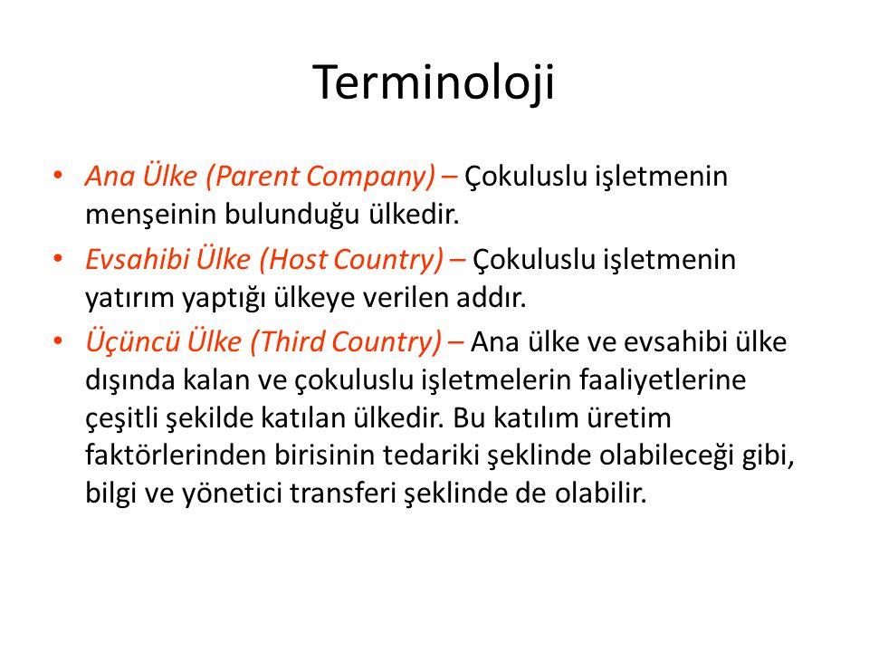 Terminoloji Ana Ülke (Parent Company) – Çokuluslu işletmenin menşeinin bulunduğu ülkedir.
