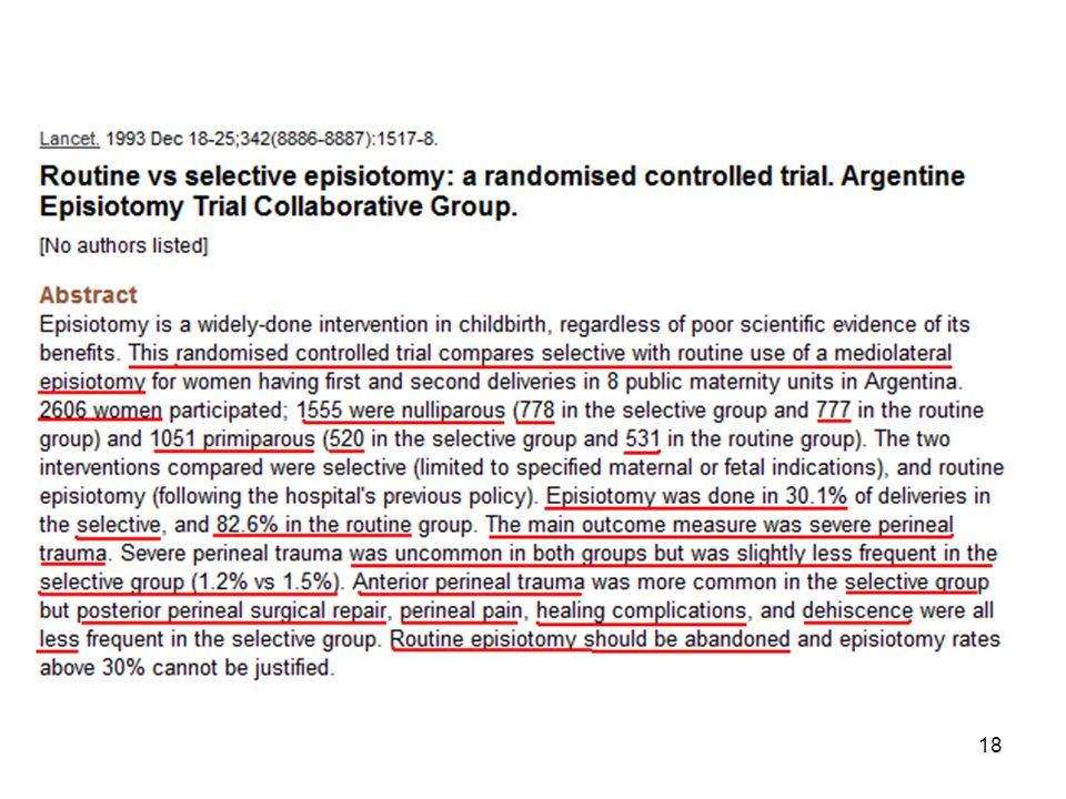 Bu yıllar içinde mediolateral epizyotomi ile ilgili ender çalışma yapıldı.