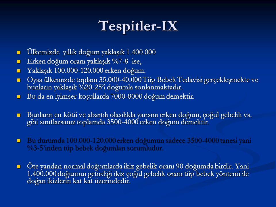 Tespitler-IX Ülkemizde yıllık doğum yaklaşık 1.400.000