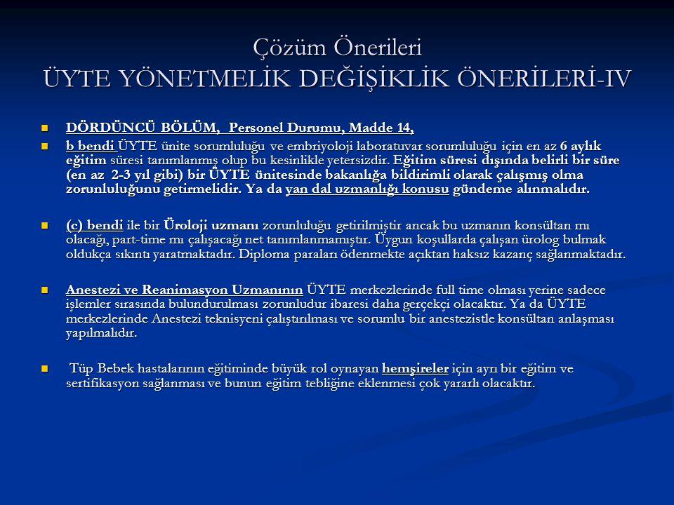 Çözüm Önerileri ÜYTE YÖNETMELİK DEĞİŞİKLİK ÖNERİLERİ-IV