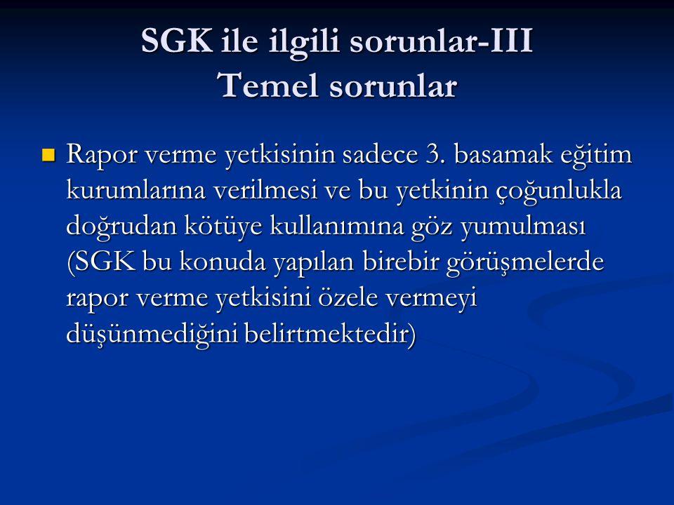 SGK ile ilgili sorunlar-III Temel sorunlar