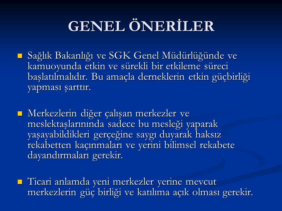 GENEL ÖNERİLER