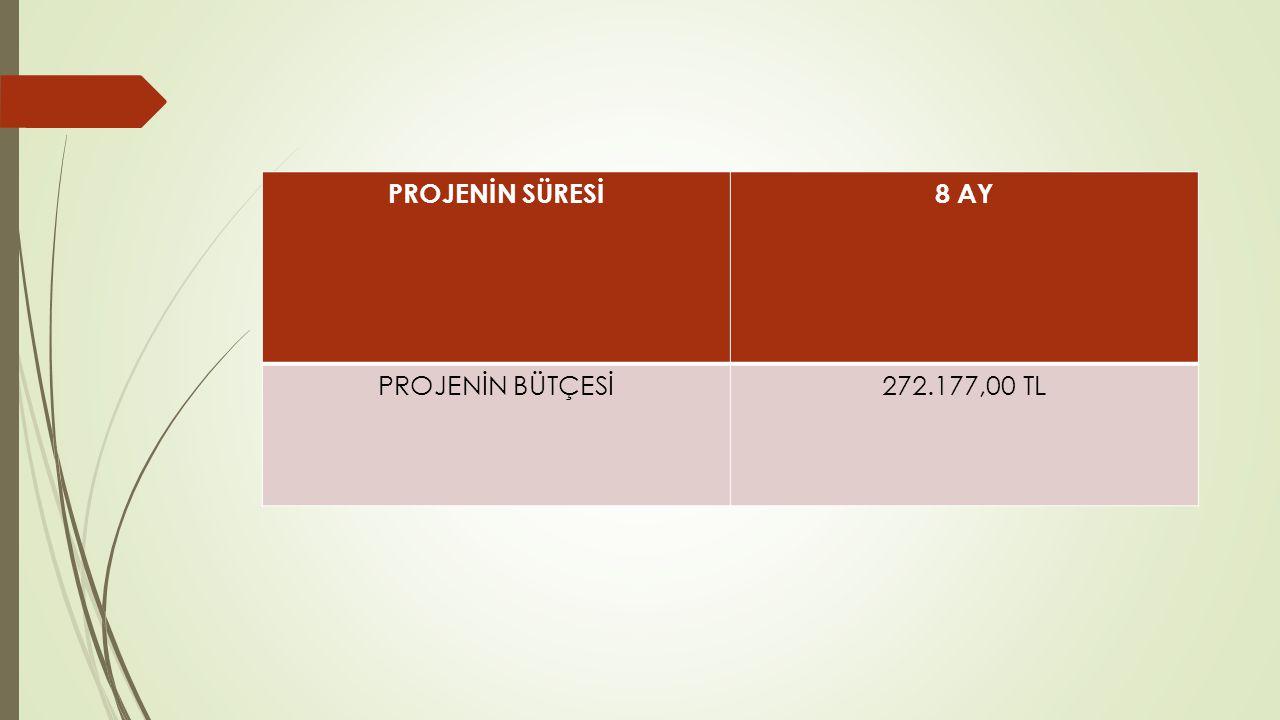 PROJENİN SÜRESİ 8 AY PROJENİN BÜTÇESİ 272.177,00 TL