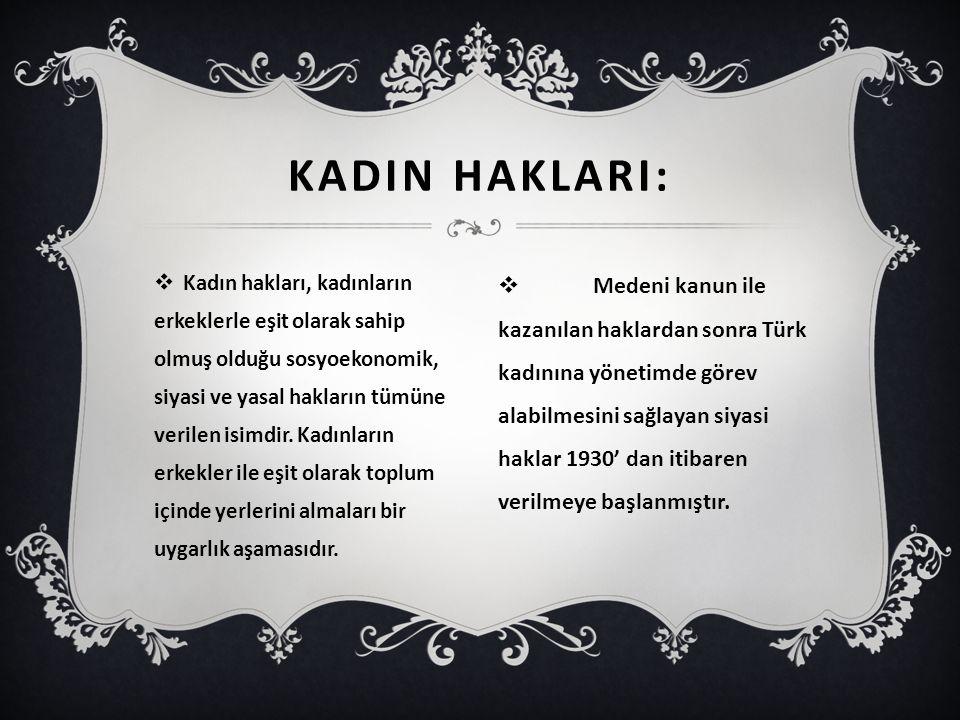 KADIN HAKLARI:
