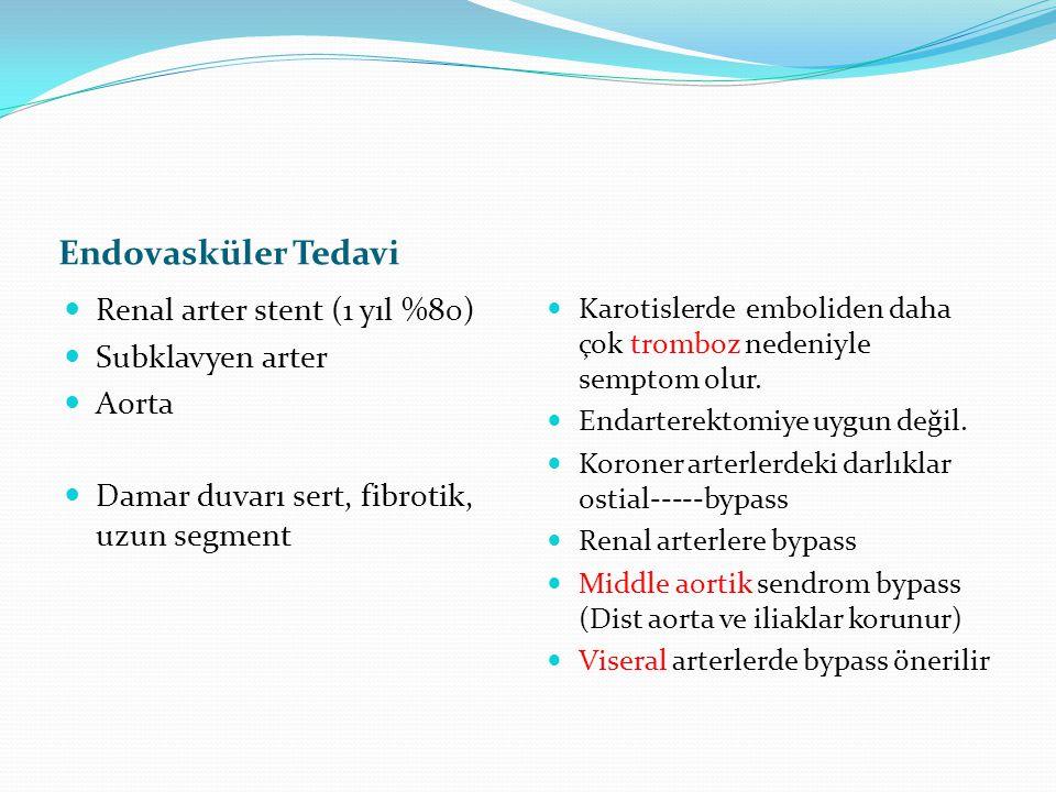 Endovasküler Tedavi Renal arter stent (1 yıl %80) Subklavyen arter