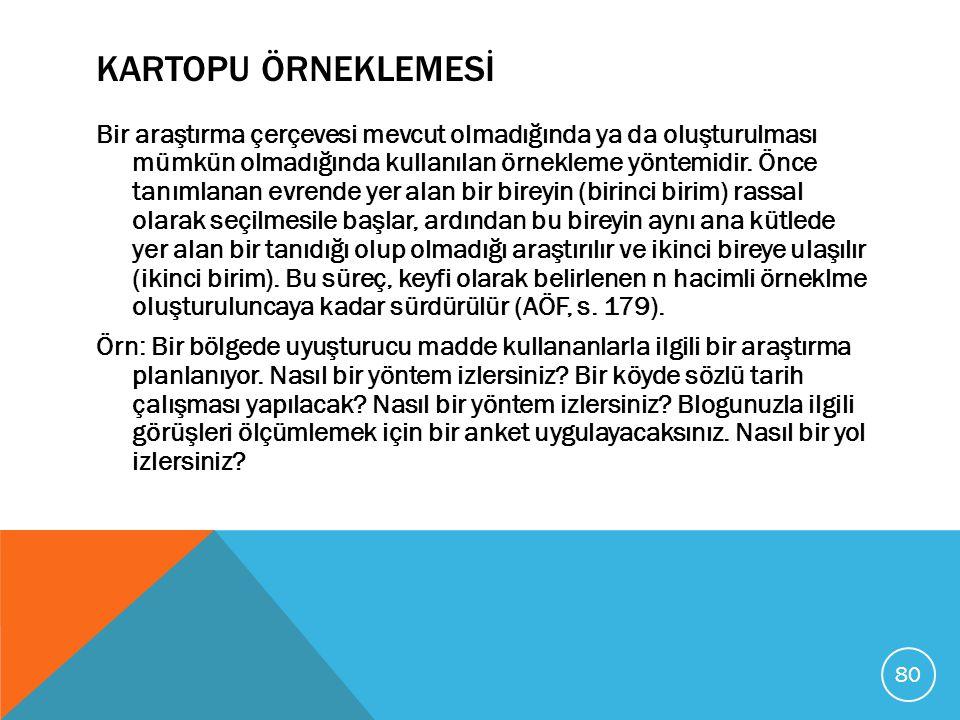 KARTOPU ÖRNEKLEMESİ