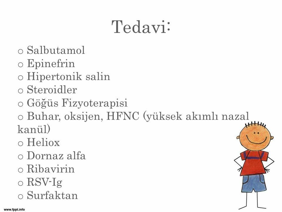 Tedavi: Salbutamol Epinefrin Hipertonik salin Steroidler