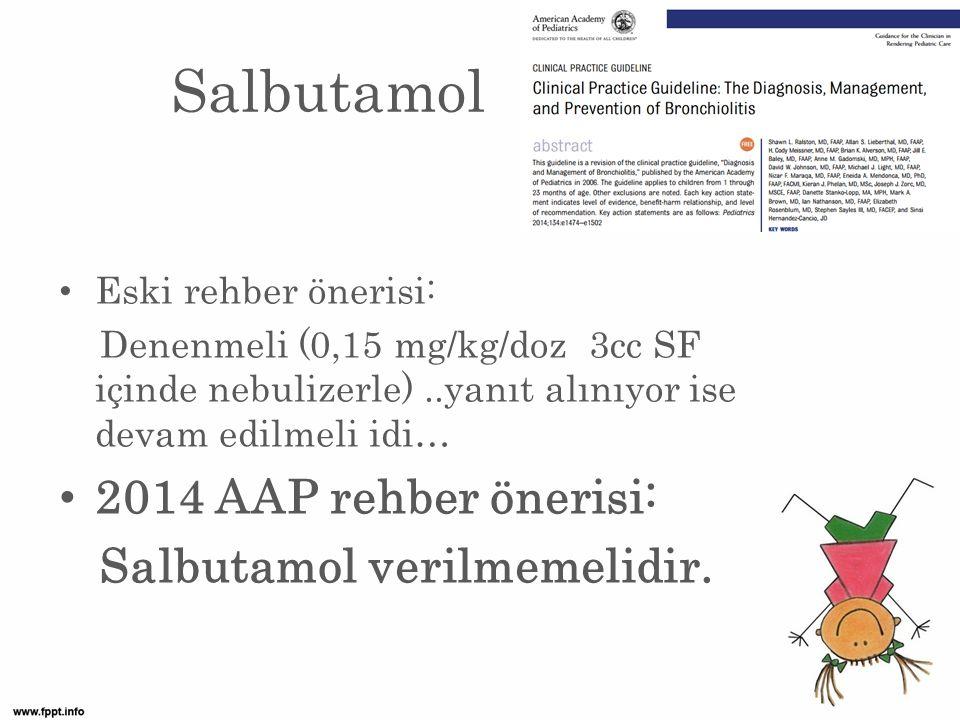 Salbutamol 2014 AAP rehber önerisi: Salbutamol verilmemelidir.