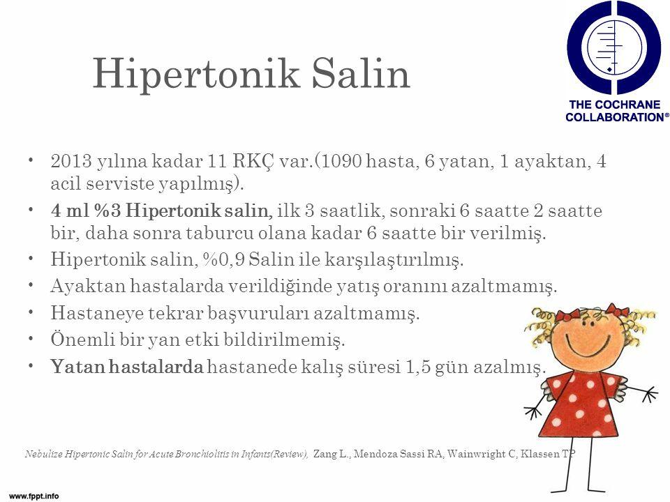 Hipertonik Salin 2013 yılına kadar 11 RKÇ var.(1090 hasta, 6 yatan, 1 ayaktan, 4 acil serviste yapılmış).