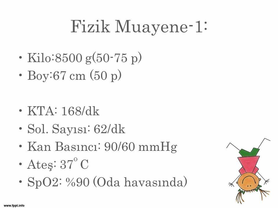 Fizik Muayene-1: Kilo:8500 g(50-75 p) Boy:67 cm (50 p) KTA: 168/dk