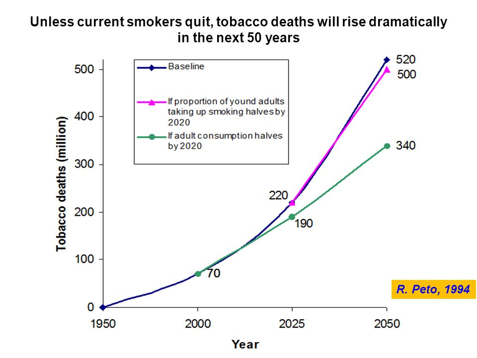 Unless current smokers quit, tobacco deaths will rise dramatically