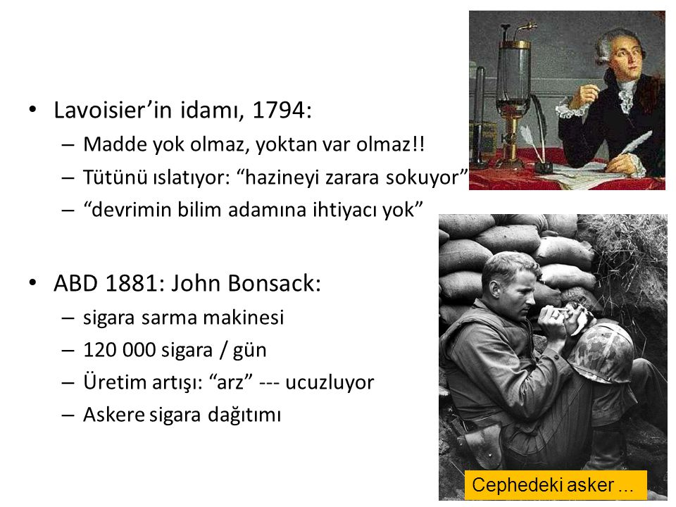 Lavoisier'in idamı, 1794: ABD 1881: John Bonsack: