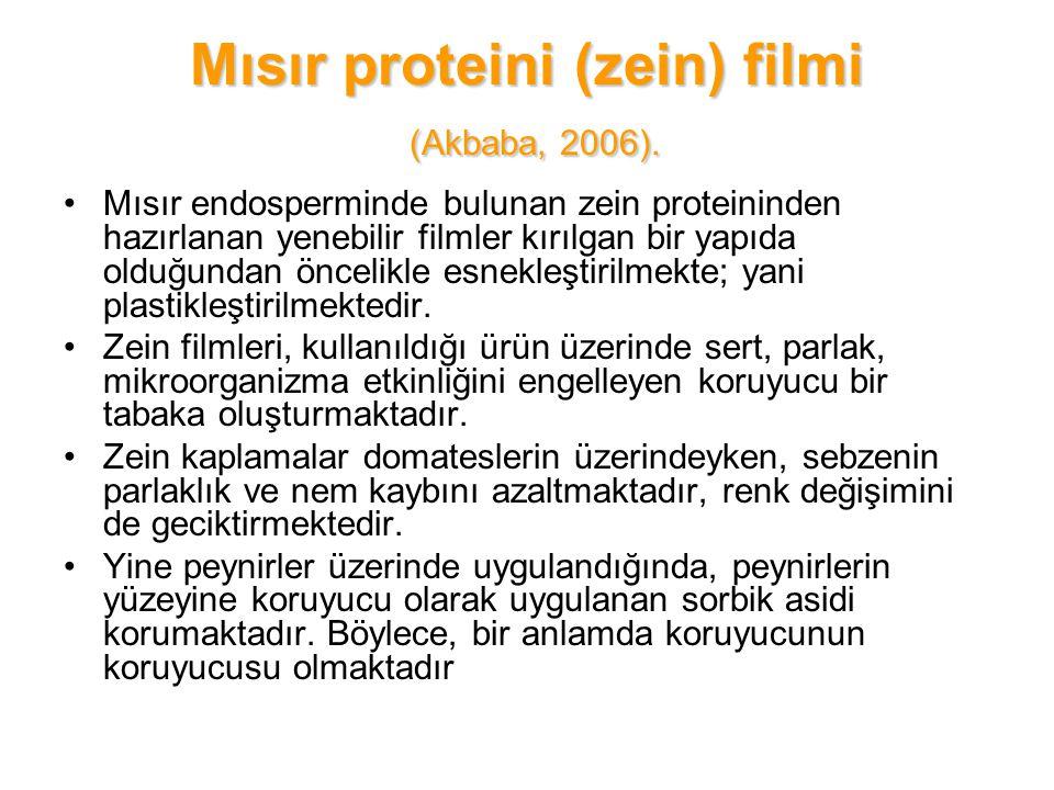Mısır proteini (zein) filmi (Akbaba, 2006).