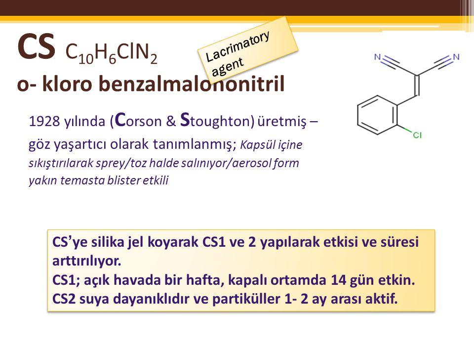 CS C10H6ClN2 o- kloro benzalmalononitril