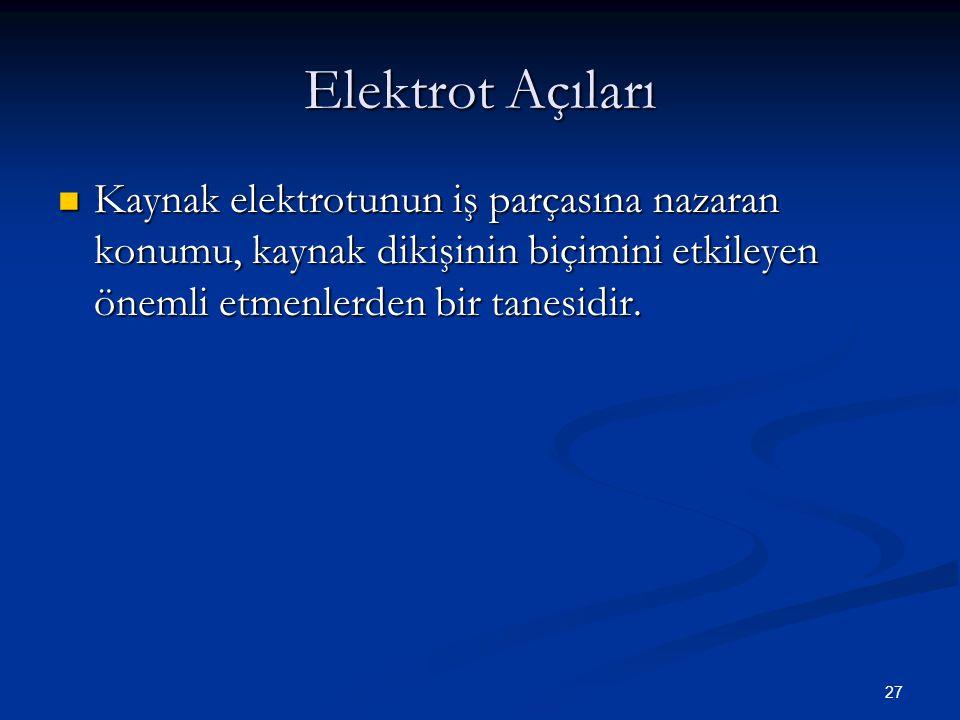 Elektrot Açıları Kaynak elektrotunun iş parçasına nazaran konumu, kaynak dikişinin biçimini etkileyen önemli etmenlerden bir tanesidir.
