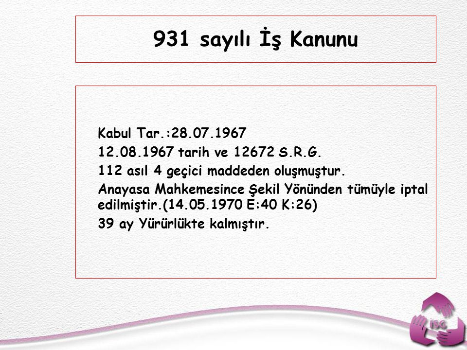 931 sayılı İş Kanunu Kabul Tar.:28.07.1967