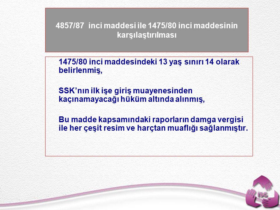 4857/87 inci maddesi ile 1475/80 inci maddesinin karşılaştırılması
