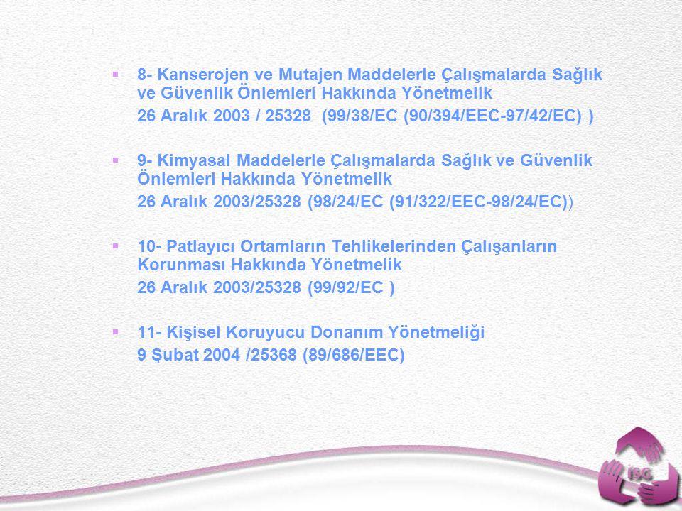 8- Kanserojen ve Mutajen Maddelerle Çalışmalarda Sağlık ve Güvenlik Önlemleri Hakkında Yönetmelik